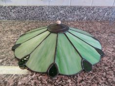 Vintage stained slag glass light shade- artist signed, Maine- solid and functional, beautiful by HeathersCollectibles on Etsy