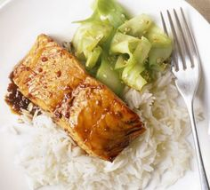 Salmon fillets are cooked straight from frozen for convenience - the sticky glaze helps to keep the fish moist while it cooks