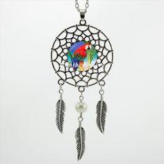 Family Decor Vintage Three Parrots Pendant Necklace Cabochon Glass Vintage Bronze Chain Necklace Jewelry Handmade