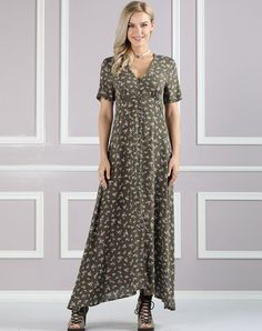 #AdoreWe #VIPme Swing Dresses❤️Designer Suzanne Betro Olive Boho Floral Print Maxi Dress with Side Split - AdoreWe.com