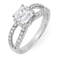 GIA Certified Princess Cut Diamond Engagement Ring 1.51 Carat 18k White Gold  #DiamondsByElizabeth #SolitairewithAccents