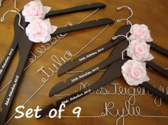 Set of 9---Personalized Hanger,  Custom Bridal Hangers,Bridesmaids gift, Wedding hangers with names,Custom made hangers