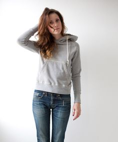 Women's Heather Grey Organic Hooded Sweatshirt by Victor Athletics