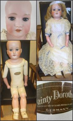 """1910 Sears Antique Bisque Kidskin 28""""  Dainty Dorothy Doll AM 370 Germany in Box"""