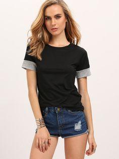 Kurzarm T-Shirt mit Rundhalsausschnitt -lässig