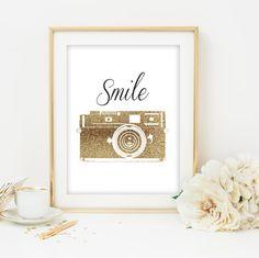 camera print gold camera printable smile print quote print quote printable inspirational quote print gold wall art gold print nursery print