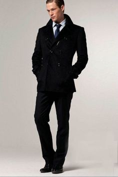 Online Inquire Double Breasted Black Fitted Winter Suits For Men