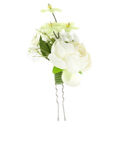 Fabric Flower Corsage Hair Pins | White | Accessorize