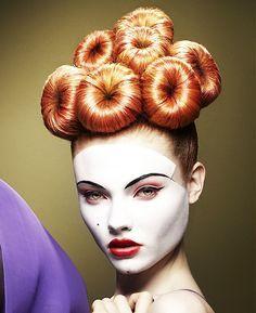 Garde Hairstyles, Bizarre Hairstyles, Avant Garde Hair Updo, Bun Updo, Fantasy Hairstyles, Blonde Hairstyles, Editorial Hairstyles, Buns Updo