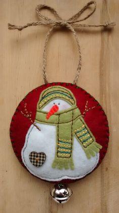 Felt Snowman Christmas/Festive hanging от GinghamFlower на Etsy