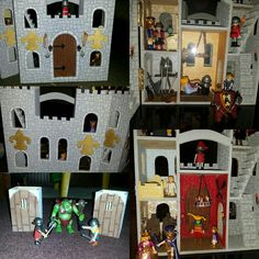 I hand painted the outside and used scrapbook paper for the wallpaper. Castle Dollhouse, Lego Castle, Wooden Projects, Craft Projects, Craft Ideas, Clothes Pin Ornaments, Castle Project, Wooden Castle, Harry Potter Outfits