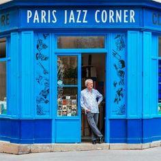 Maxime Hubert, At The Entrance Of The Reference Jazz Music Shop In Paris by Photographer Sebastian Erras Architecture Parisienne, Restaurant Hotel, Paris Shopping, Paris Arrondissement, Belle Villa, Shop Fronts, Floor Patterns, Shop Window Displays, Shop Signs
