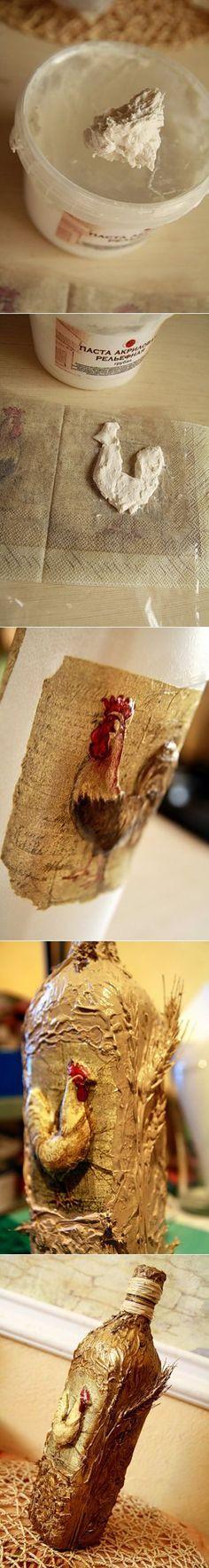 """МК по декорированию бутыли """"Деревенской"""" в технике декупаж с применением моделирующих паст - Ярмарка Мастеров - ручная работа, handmade"""