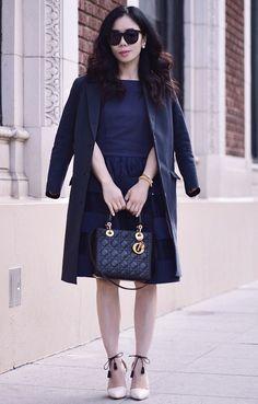 4.15 navy on navy (Selected navy blazer + Modcloth 'mate of honor' dress + Ulla Johnson 'kiki' d'orsay heels + Lady Dior bag + Karen Walker sunnies + Dior earrings)