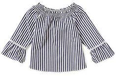 Copper Key Big Girls 7-16 Stripe Smocked Bell-Sleeve Nautical Peasant Top