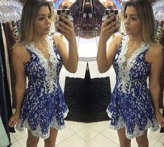 Aliexpress.com : Buy mel moda mulheres brancas rendas e azul v pescoço vestido de festa from Reliable vestido de renda inferior suppliers on Honey Co. Ltd.