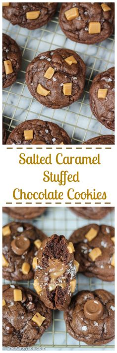 Salted Caramel Stuffed Chocolate Cookies - a Rolo candy is hiding inside each rich chocolate cookie! ChezCateyLou.com