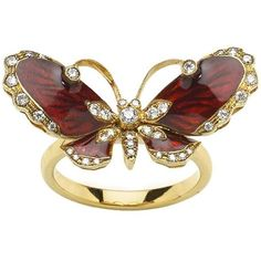 Preowned Red Enamel Diamond Gold Butterfly Ring ($3,248) ❤ liked on Polyvore featuring jewelry, rings, red, gold diamond rings, butterfly ring, pre owned diamond rings, yellow gold diamond rings and butterfly wing ring
