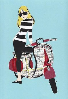 Blonde girl in sun glasses standing next to Vespa scooter with a map pattern Mod Scooter, Lambretta Scooter, Vespa Scooters, Vintage Vespa, Vespa Girl, Scooter Girl, Vespa Illustration, Graphic Illustration, Motos Vespa
