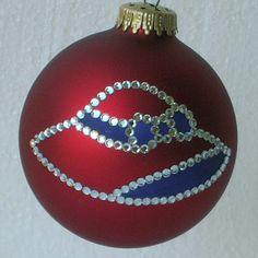 Red Hat Society Christmas tree ornament with authentic Swarovski rhinestones.