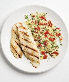 Garlicky Grilled Tilapia With Couscous from realsimple.com #myplate #protein #grains