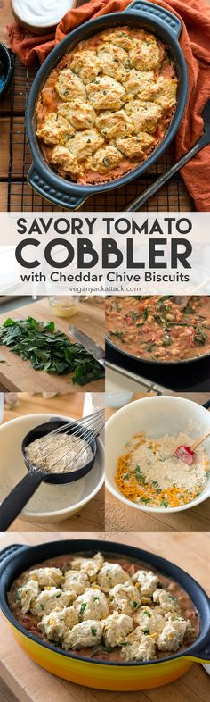 Savory Tomato Cobbler with Vegan Cheddar Chive Biscuit topping! Delicious, hearty and perfect for a weeknight dinner. @veganyackattack