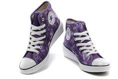 Purple Converse Women Platform Hi-Ness Chuck Taylor Tie-Dye All Star High Tops Sneakers.