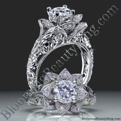 Not sure this company is legit.but the rings are nice! - Nikki --Diamond Embossed Blooming Rose Engagement Ring with Etched Carvings - In white gold Lotus Flower Engagement Ring, Radiant Engagement Rings, Engagement Ring Settings, Rose Wedding Rings, Anniversary Rings, Beautiful Rings, Ring Designs, Marie, Blooming Rose