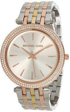 Michael Kors MK3203 Darci Mid-size Glitz Tri-tone Steel Watch