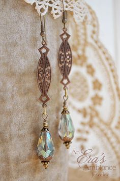 ❥ Majeera Victorian style earring with beautiful crystal beads. Perfect for a Downton Abbey evening. :)