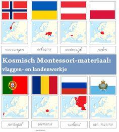 Kosmisch Montessori-materiaal: landen- en vlaggenwerkje met kaart, vlag en naam…