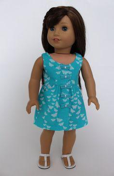 18 inch doll clothes: Summer Fun-- Sleeveless dress with pockets, butterflies…