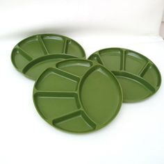 SOLD - Divided Plates Round Plastic Green Plates Stackable