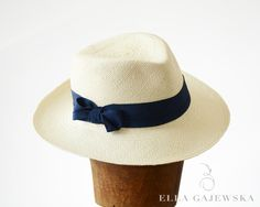 Nautical+Summer+Natural+White+Panama+Straw+Sun+by+EllaGajewskaHATS,+£109.00