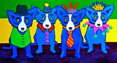 Four Blue Dogs