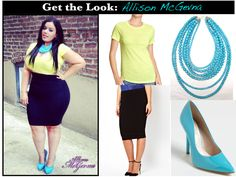 Get the look! Allison McGevna The Curvy Fashionista Blog: The above look was part DIY as she cut her tee to give it a cropped look. This makes her look unique and makes her stand out from the others.