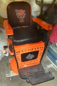 FULLY RESTORED EARLY 1900S EMIL J PAIDAR HARLEY DAVIDSON MOTORCYCLE BARBER CHAIR | eBay