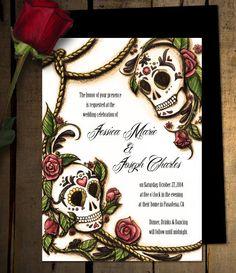 Dia de los Muertos Sugar Skull Wedding by CMSStationery on Etsy, $3.00