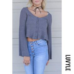 #Luvyle - #Luvyle Scoop Neck Single Breasted Exposed Navel Plain T-Shirts - AdoreWe.com