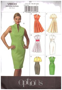 Vogue Patterns Sewing Pattern Misses' Funnel-Neck Dresses Dress Sewing Patterns, Mccalls Patterns, Clothing Patterns, Vogue Patterns, Fall Dresses, Dresses For Work, Party Dresses, Diy Fashion, Ideias Fashion