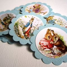 Perfect for baby shower or little one's party you will get Non-Personalized Peter Rabbit Favor Tags in blue Images vary Do let me know if you have a specific image Miss Bunny, Peter Rabbit Party, Benjamin Bunny, Birthday Tags, Rabbit Baby, Christmas Countdown, Christmas Ornaments, Paper Book, Favor Tags