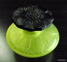 Art Deco Vaseline Uranium Glass Perfume Bottle & Black Flower Stopper