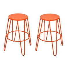 Adeco Metal Stackable Round Top Backless Barstools (Set of 2)