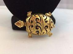 VTG. LARGE ORNATE OPEN WORK GOLD TONE TURTLE BROOCH/DRESS CLIP COMBO  | eBay