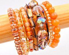 Orange memory wire bracelet, orange wrap bracelet, beaded bracelet, crystal bracelet, stacked bracelet, memory wire wrap bracelet