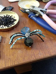 Black and teal bead bug by lolacreations1 on Etsy, $5.00
