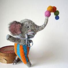 Needle felted Animal  Needle felted Elephant by MissBumbles, $80.00