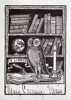 wise old owl. ex libris. - if you're not into owls, you obviously don't love Hedwig and you're behind the trend.