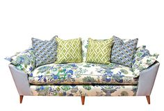 """KIM SALMELA  One Kings Lane - Take a Seat - Annelise Sofa  5700 $2999    Made of:frame, alder; upholstery, linen; fill, feather/down/poly-blend/high-resiliency foamSize:84""""W x 35""""D x 33""""H; seat height, 19""""Color:upholstery, blue/white/green/multi; legs, naturalCare:Dry-clean only.    This nod to Scandinavian styling boasts a bench seat and splayed, tapered legs but its cotton floral upholstery adds a twist of French country. Throw pillows in a complementary geometric fabric inject extra…"""
