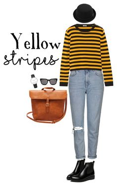 """Yellow Stripes"" by nomastu-dinar on Polyvore featuring Topshop, Miu Miu, WithChic, Blanc & Eclare and Daniel Wellington"